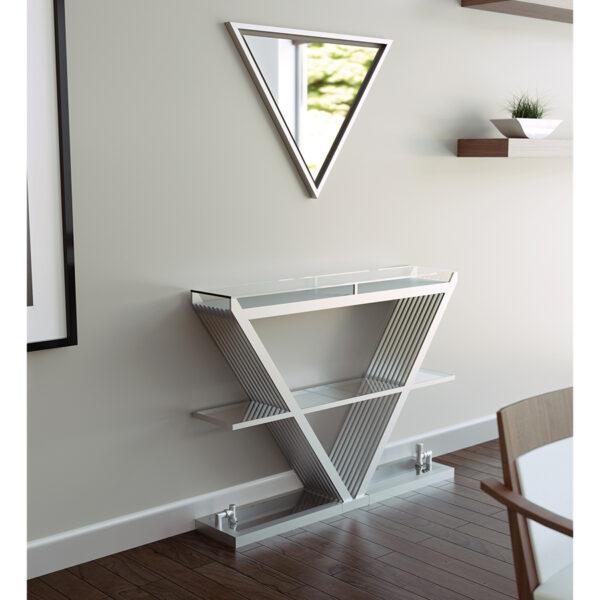 Triangular radiator for lounge with shelf and mirror