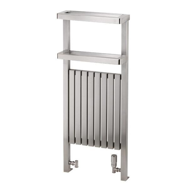 Attractive floor-standing designer towel rail for bathrooms