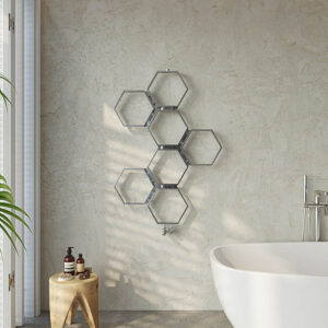 Attractive hexagonal towel rail for bathrooms and kitchens