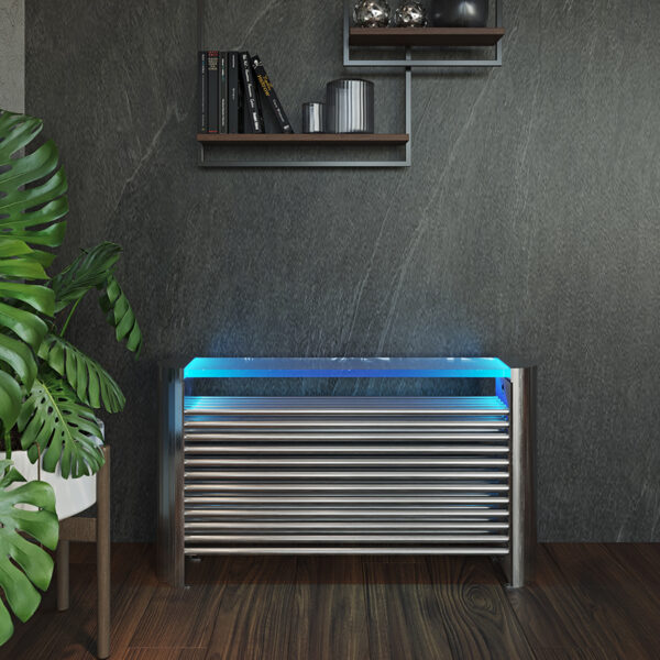Attractive floor-standing designer radiator with lights for lounge and hallways