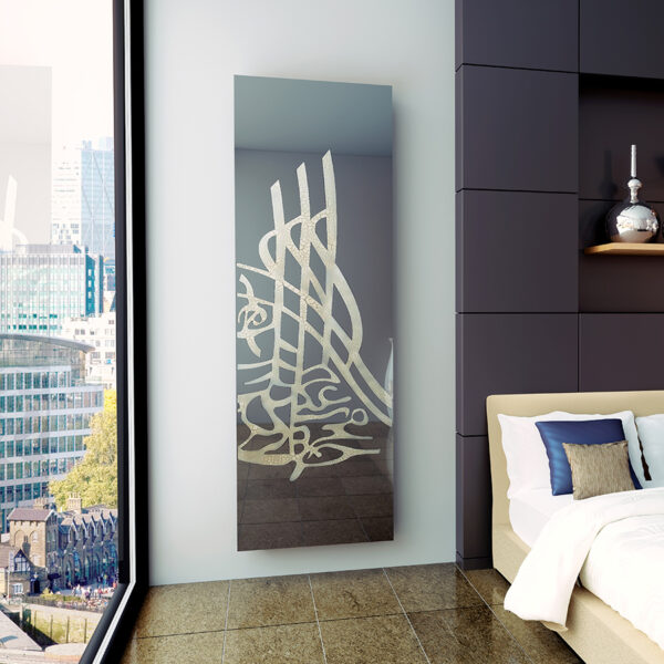 Unique bespoke radiator with image for bedroom and living room