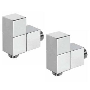 Cubic radiator valves in chrome